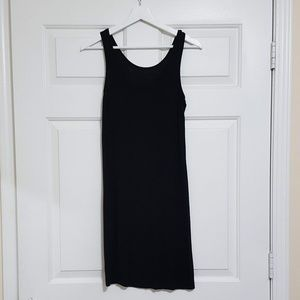 Long black tank top slip dress